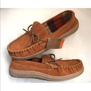Route 66 Slippers Mens Caramel Suede Moccasins